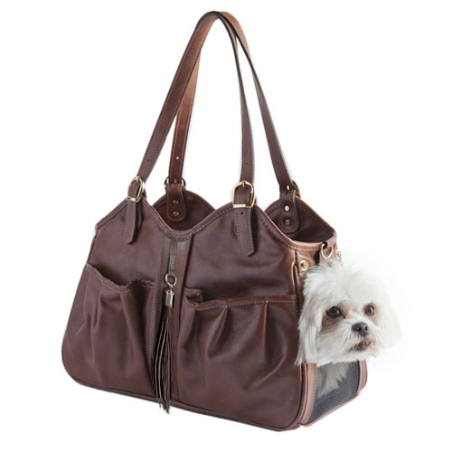 Dog carrier by petote toffee with tassel leather dog carriers