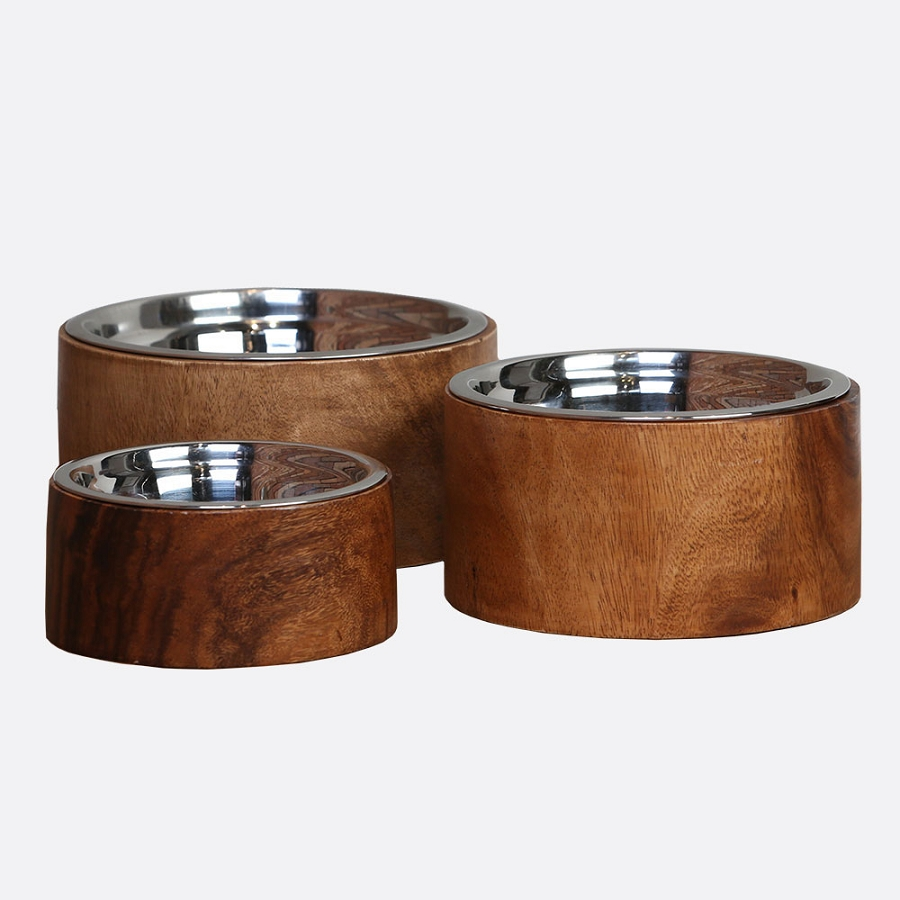 Acacia Plantation Wood Raised Dog Bowl Elevated Dog Feeders