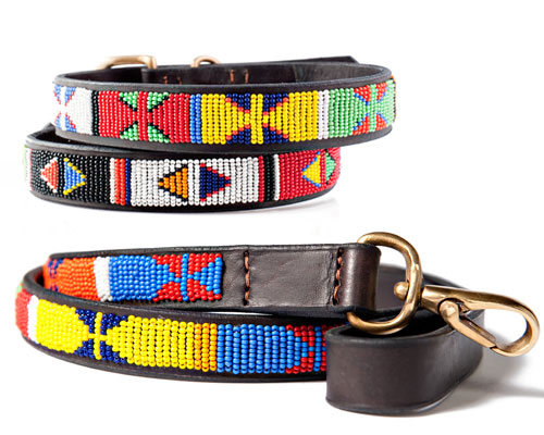 African Beaded Leather Dog Collars