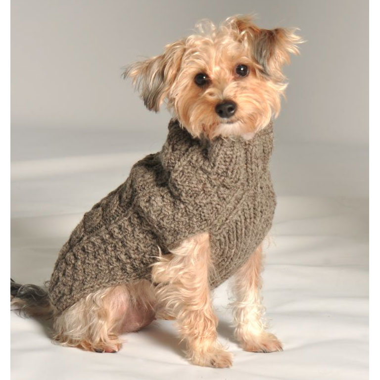 Knitting Pattern For Small Dog Clothes : Grey Cable Knit Dog Sweater by Chilly Dog at GlamourMutt