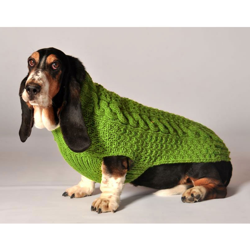 Green Cable Knit Dog Sweater By Chilly Dog