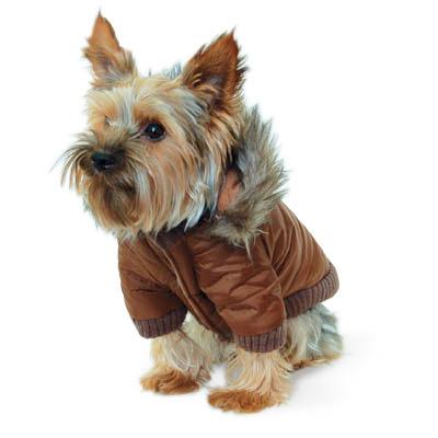 Gizmo Furry Trim Dog Parka in Brown at GlamourMutt.com  Gizmo Furry Tri...