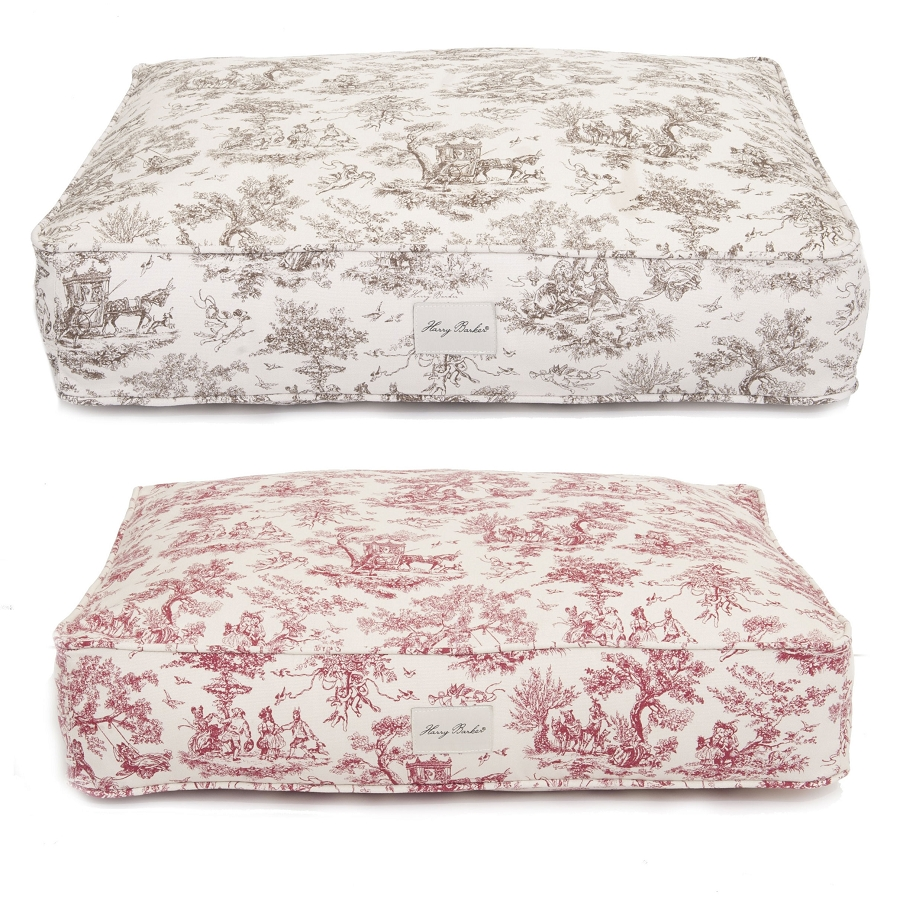 harry barker toile canvas rectangle dog bed With toile dog bed