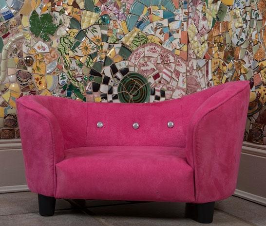 Lily Bud Microfiber Dog Sofa Bed Pink Designer Dog Beds