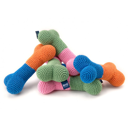 Home > Toys > Crochet Color Block Bone Toy - Pink/Green, Orange/Blue