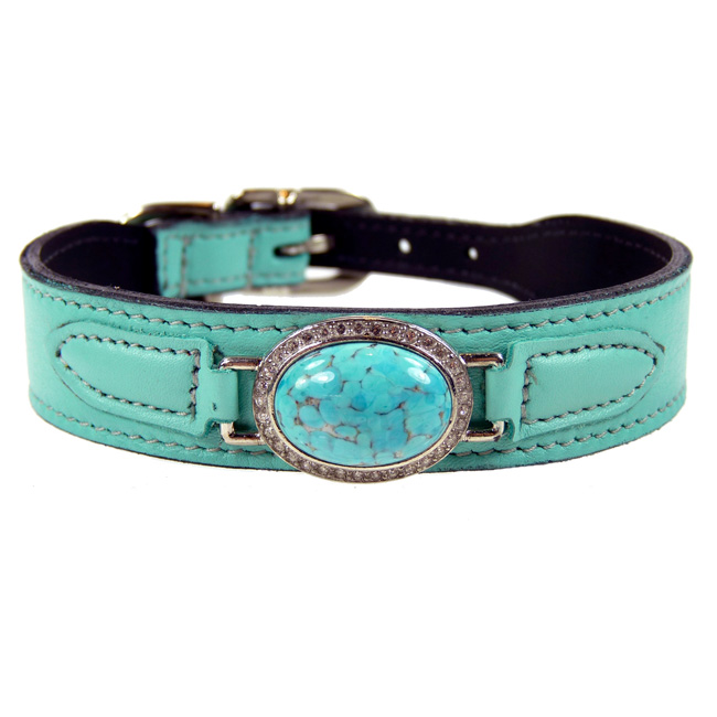 Turquoise Leather Dog Collar