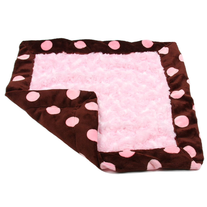 Susan Lanci Dog Blanket Chocolate And Pink Minky Polka