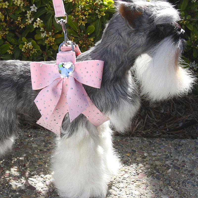 Susan Lanci Tail Bow Swarovski Crystal Dog Harness Baby Pink Stardust Designer Dog Boutique At