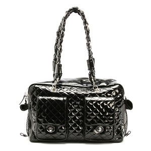 Alex Luxe Chains Dog Carrier by Kwigy Bo - Black Patent