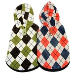 Chester Argyle Fleece Dog Hoodies - Green and Orange