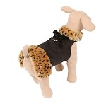 Black Luxe Suede Dog Coat with Faux Cheetah Fur