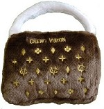 Chewy Vuiton Brown Purse Dog Toy