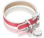 Italian Saffiano Leather Dog Collar - Fuchsia