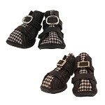 Houndstooth Dog Shoes- Black and Brown