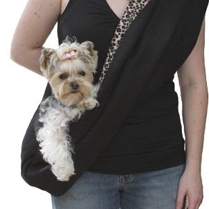 Black Luxe Suede Dog Carrier Sling with Faux Cheetah Minky Fur