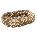 Microvelvet Donut Dog Bed - Cedar Lattice