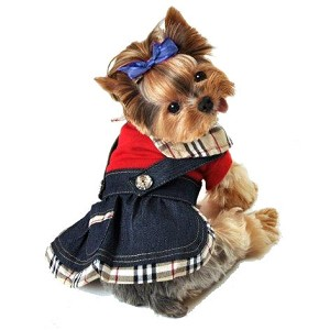 Nova Plaid Denim Overall Dog Dress