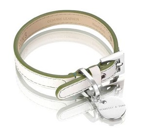 Polo Leather Dog Collar - Green/White