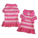 Preppy Polo Striped Dog Dress - Pink