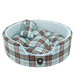 Classic Preppy Dog Bed - Blue