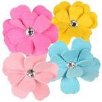 Tinkie's Garden Flower Swarovski Crystal Hair Bows - 34 Colors