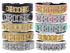 Art Deco Haute Couture Swarovski & Italian Leather Collar- 10 Colors