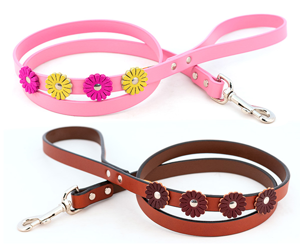 Floral Pink Leather Dog Leash Designer Collars And Leads At