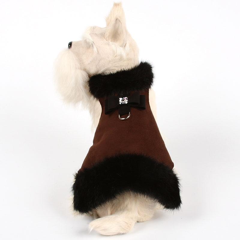 Big Bow Crystal Black Mink Fur Dog Coat Chocolate