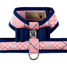 Big Bow Two-Tone Tinkie Harness- Houndstooth Peaches n Cream & Navy