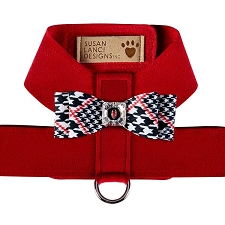 Big Bow Two-Tone Tinkie Harness- Glen Houndstooth & Red