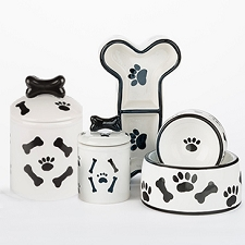 Black & White Bones Collection Bowls & Treat Jars