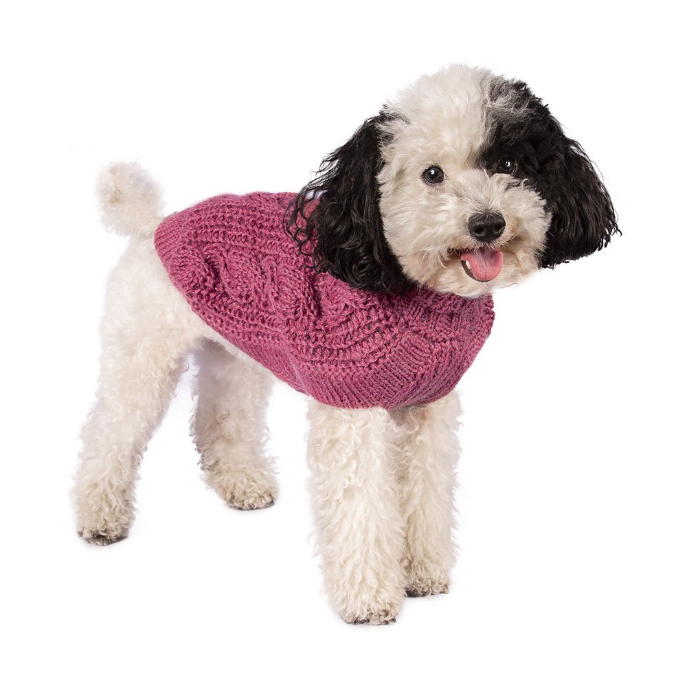 Pink Chunky Cable Alpaca Dog Sweater At Glamour Mutt