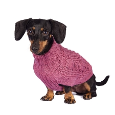 Chunky Cable Alpaca Dog Sweater- Pink