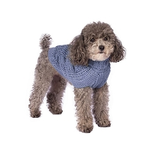 Chunky Cable Alpaca Dog Sweater- Light Blue