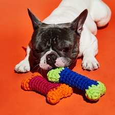 Cotton Crochet Bone Dog Toy- 2 Colors