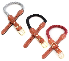 Cotton Rope Dog Collars with Leather Accents- 8 Colors
