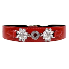 Daisy Italian Leather Swarovski Crystal Collar- Ferrari Red