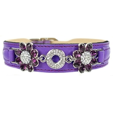 Daisy Italian Leather Swarovski Crystal Collar- Grape & Amethyst
