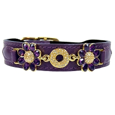 Daisy Italian Leather Swarovski Crystal Collar- Papal Purple & Amethyst