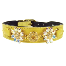 Daisy Italian Leather Swarovski Crystal Collar- Yellow & Aurora Borealis