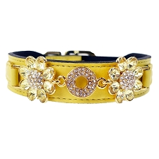 Daisy Italian Leather Swarovski Crystal Collar- Yellow & Jonquil