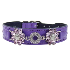Daisy Italian Leather Swarovski Crystal Collar- Lavender & Light Amethyst