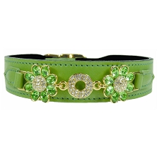 Daisy Italian Leather Swarovski Crystal Collar- Lime & Peridot