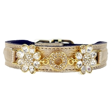 Daisy Italian Leather Swarovski Crystal Collar- Metallic Gold