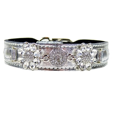 Daisy Italian Leather Swarovski Crystal Collar- Metallic Silver