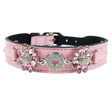 Daisy Italian Leather Swarovski Crystal Collar- Sweet Pink & Light Rose