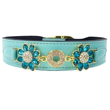 Daisy Italian Leather Swarovski Crystal Collar- Turquoise & Blue