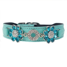 Daisy Italian Leather Swarovski Crystal Collar- Turquoise & Zircon