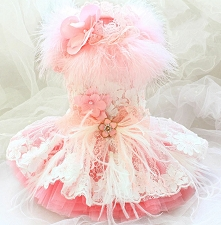 Feather Flower Couture Dog Dress