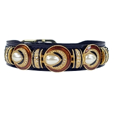 Haute Couture Spanish Pearl Dog Collar- Black